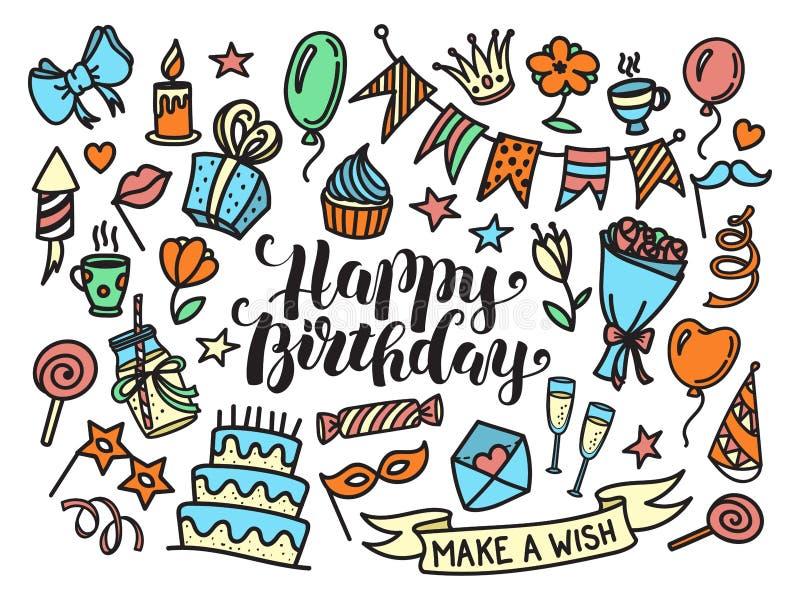 Het kleurrijke gelukkige verjaardagspartij van letters voorzien en krabbelreeks stock illustratie