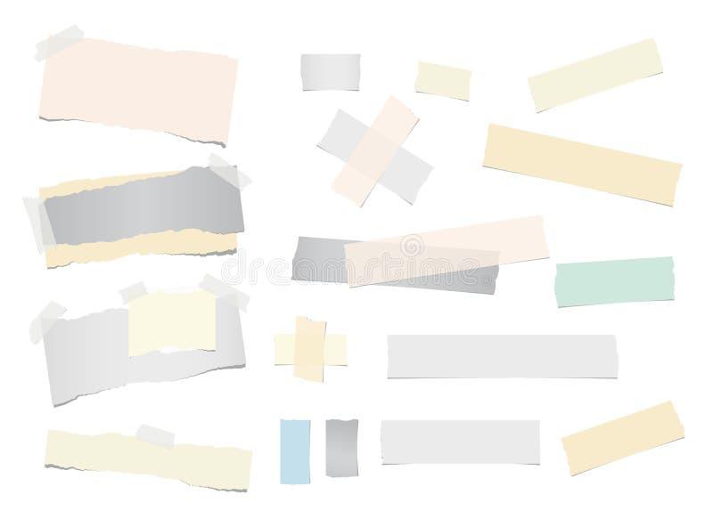 Het kleurrijke gescheurde notitieboekje, het notadocument, de kleverige kleefstof, de band voor tekst of het bericht zijn geïsole stock illustratie