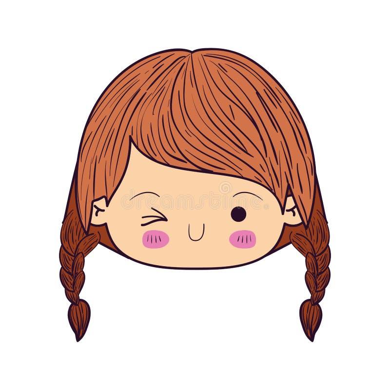 Het kleurrijke het gezichtsmeisje van karikatuurkawaii met gevlecht haar en de gelaatsuitdrukking knipogen oog royalty-vrije illustratie