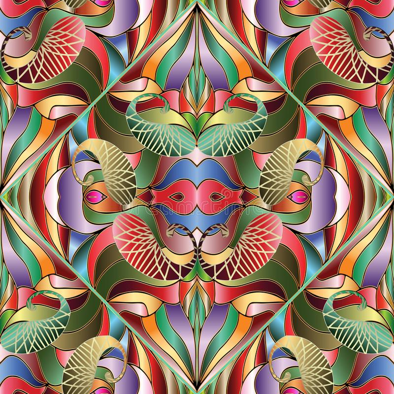 Het kleurrijke heldere abstracte naadloze patroon van Paisley Vector geomet stock illustratie