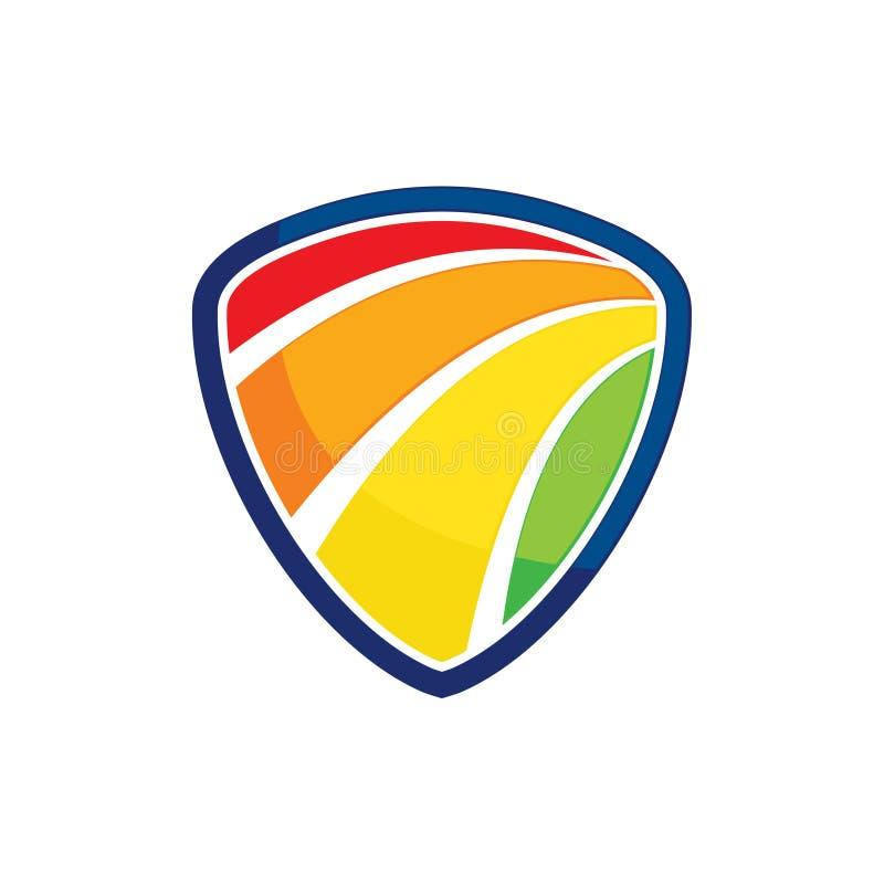 Het kleurrijke Heldere Embleem van het de Beschermingsschild van het Regenboogspectrum royalty-vrije illustratie