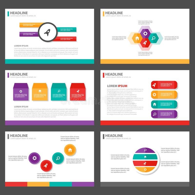 Het kleurrijke Infographic-het malplaatje vlakke ontwerp van de elementenpresentatie plaatste voor het pamflet van de brochurevli stock illustratie