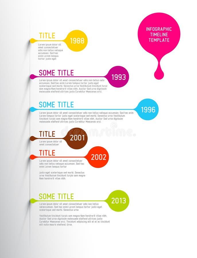 Het kleurrijke Infographic-malplaatje van het chronologierapport met bellen royalty-vrije illustratie