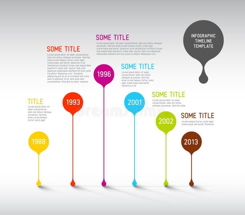 Het kleurrijke Infographic-malplaatje van het chronologierapport met bellen vector illustratie