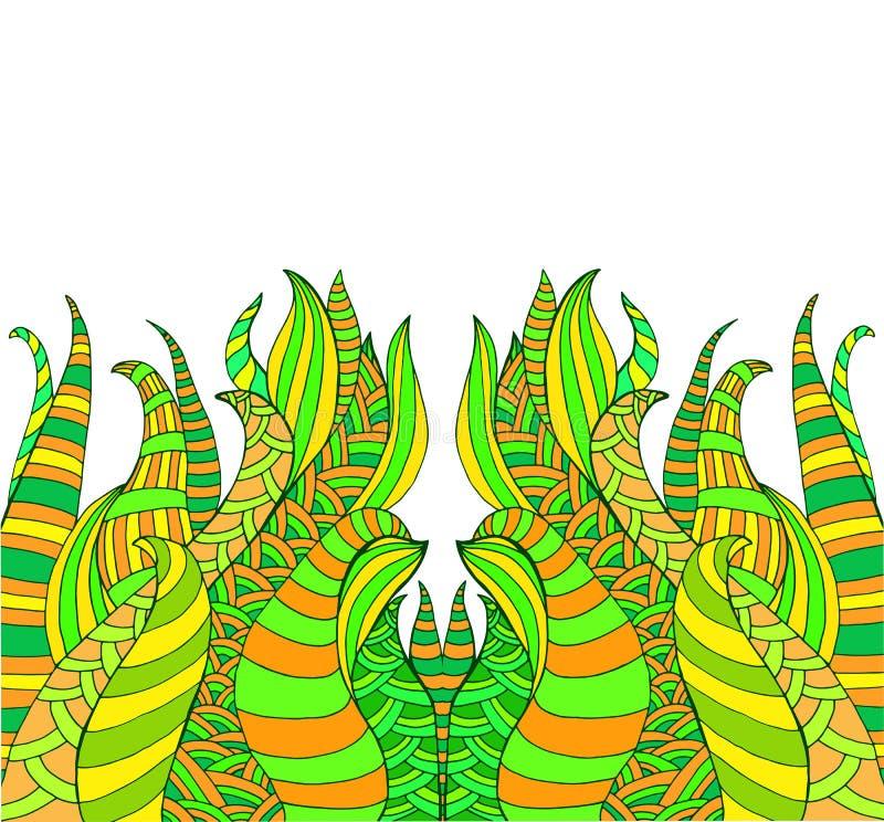 Het kleurrijke kader van fantasie psychedelische siergolven Surreal helder krabbel golvend patroon op witte achtergrond stock illustratie