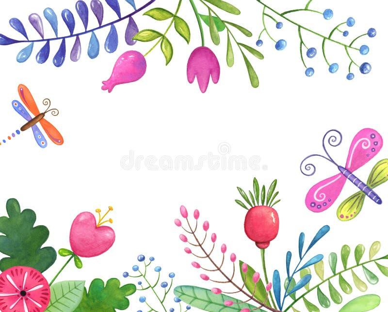 Het kleurrijke kader van mooie bloemen, doorbladert en vertakt zich op witte achtergrond vector illustratie