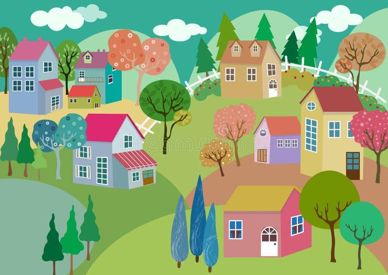Het kleurrijke Landschap van het Pastelkleurdorp royalty-vrije illustratie