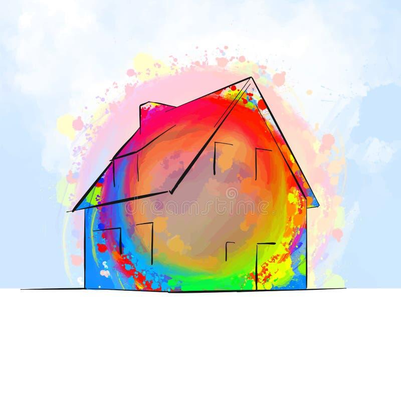 Het kleurrijke losgemaakte concept van de huistekening stock illustratie