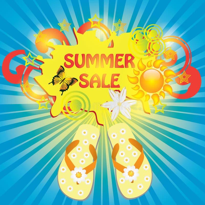 Het kleurrijke malplaatje van de de zomerverkoop royalty-vrije illustratie