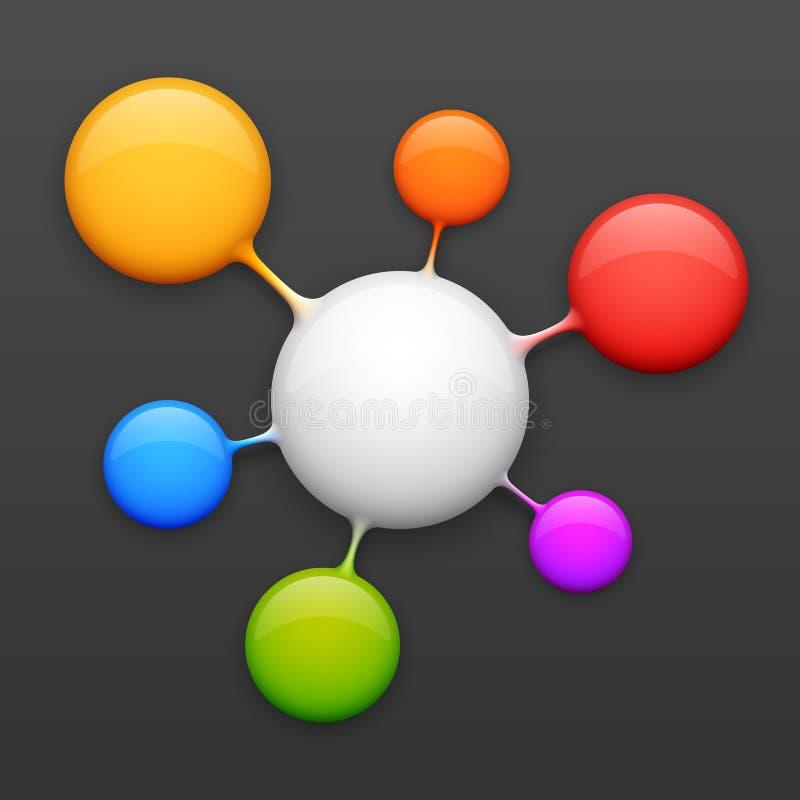 Het kleurrijke malplaatje van het moleculeontwerp royalty-vrije illustratie