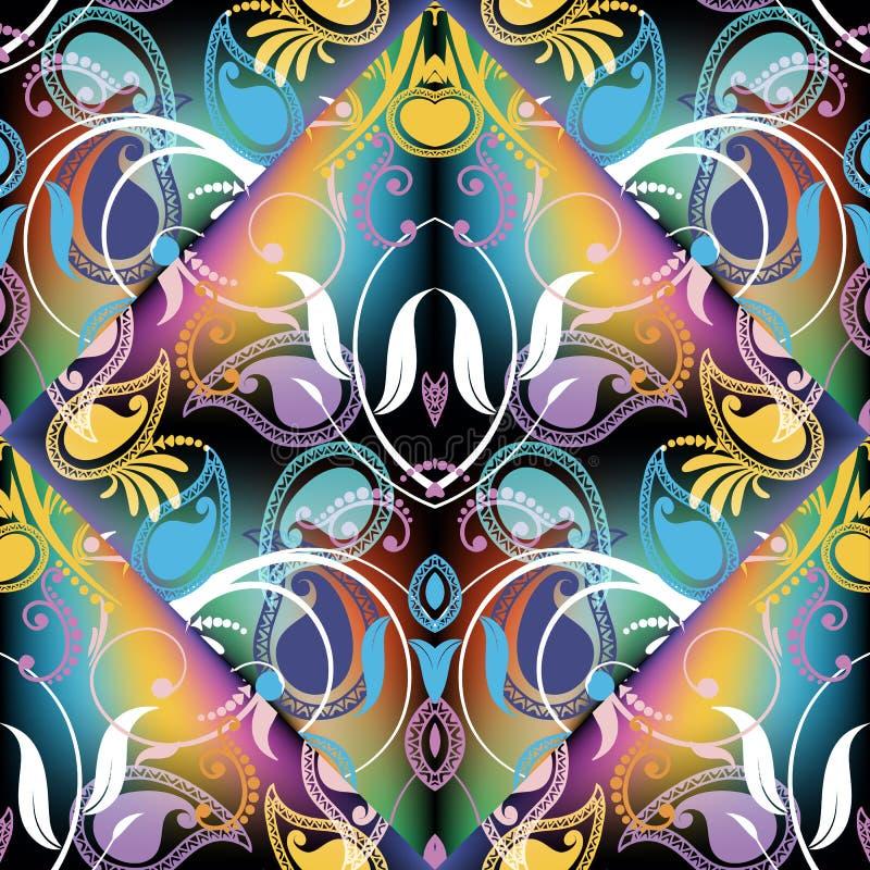 Het kleurrijke mooie bloemen vector naadloze patroon van Paisley Samenvatting royalty-vrije illustratie