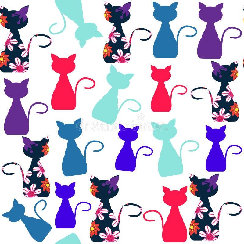 Het kleurrijke naadloze patroon van beeldverhaal grappige katten en naadloze patte royalty-vrije illustratie