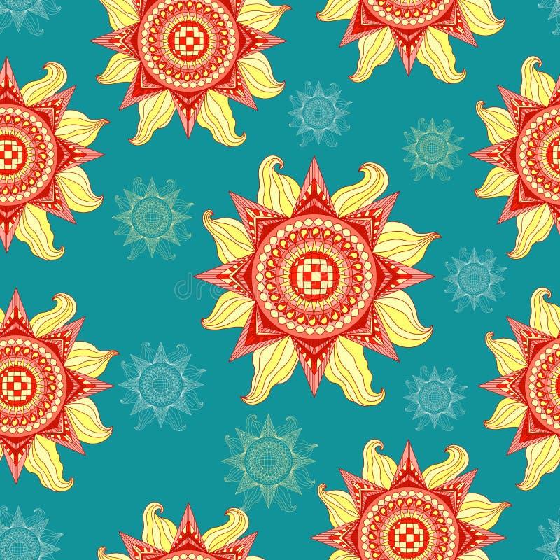 Het kleurrijke naadloze patroon van de de zomerzon op aquamarijnachtergrond vector illustratie