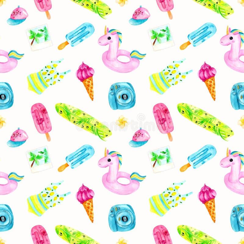 Het kleurrijke naadloze patroon van de waterverfzomer Het ontwerp van de manierdruk, illustratie stock illustratie