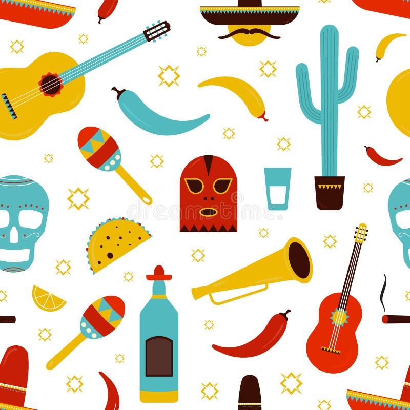 Het kleurrijke naadloze patroon van Mexico met traditionele Mexicaanse attributen op witte achtergrond - tequila, Spaanse peperpe stock illustratie