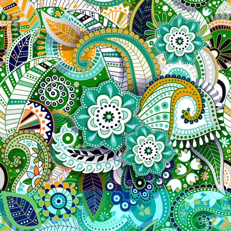 Het kleurrijke naadloze patroon van Paisley Originele decoratieve achtergrond royalty-vrije illustratie