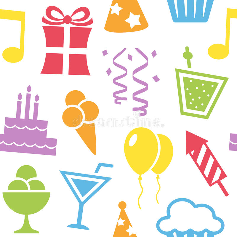 Het kleurrijke Naadloze Patroon van Verjaardagspictogrammen royalty-vrije illustratie