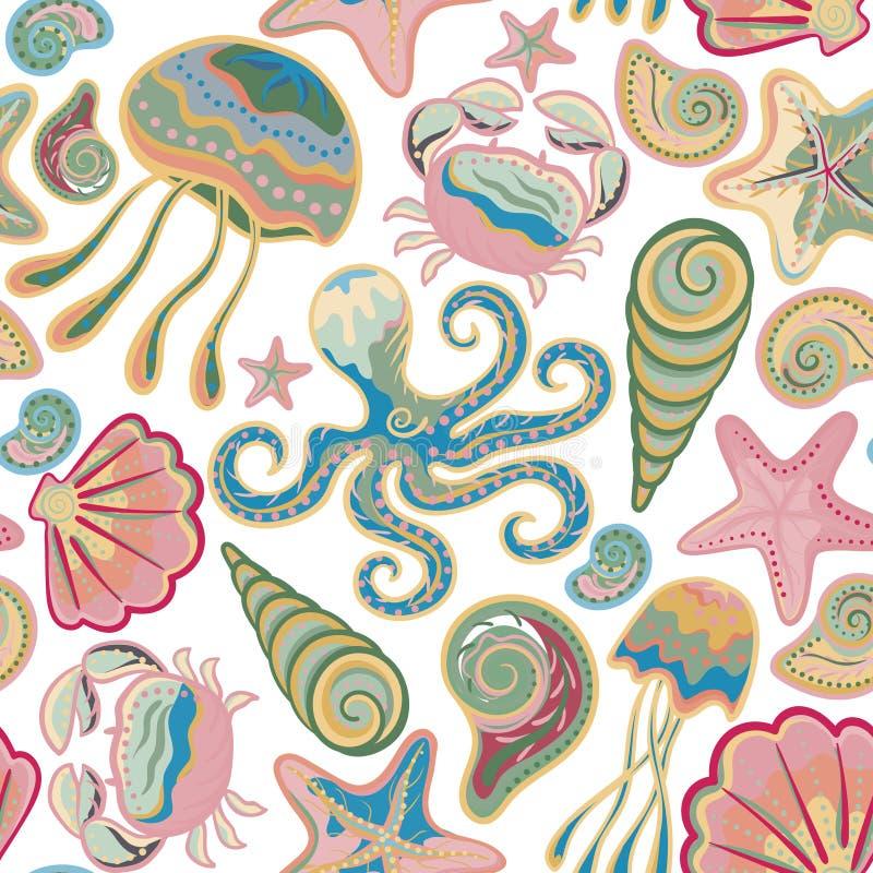 Het kleurrijke onderbehang van de waterwereld met krab, octopus, kwallen, stervissen en anderen vector illustratie