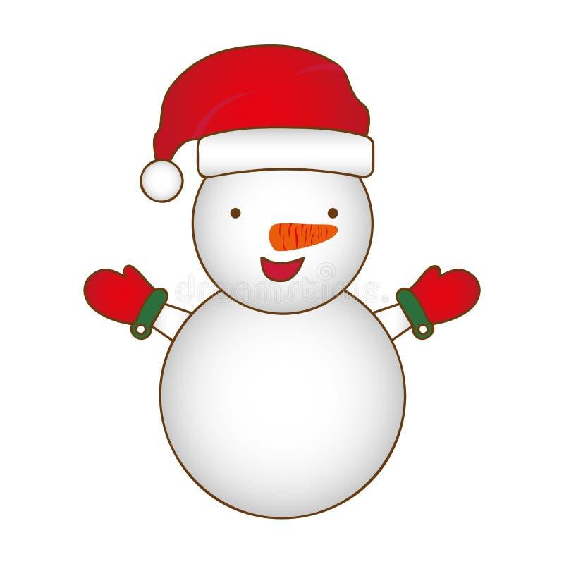 het kleurrijke ontwerp van de sneeuwmankerstmis van het silhouetbeeldverhaal royalty-vrije illustratie