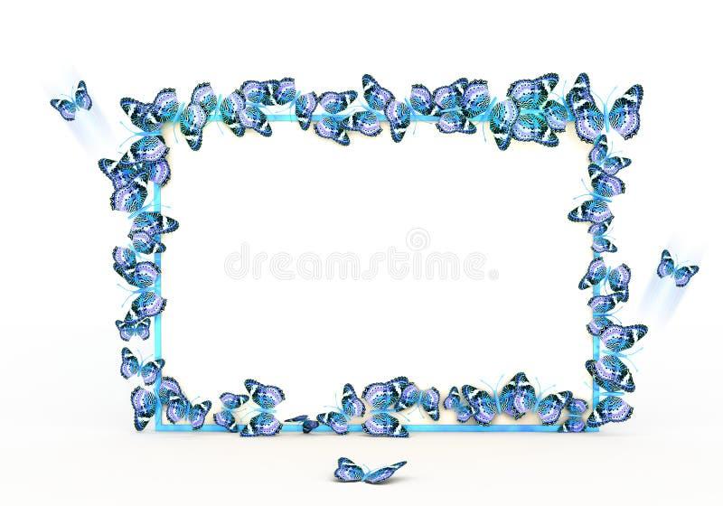 Het kleurrijke ontwerp van de vlindersgrens op de witte achtergrond stock illustratie