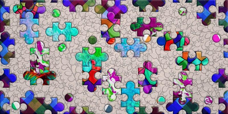 Het kleurrijke ontwerp van het raadselpatroon voor druk stock afbeeldingen