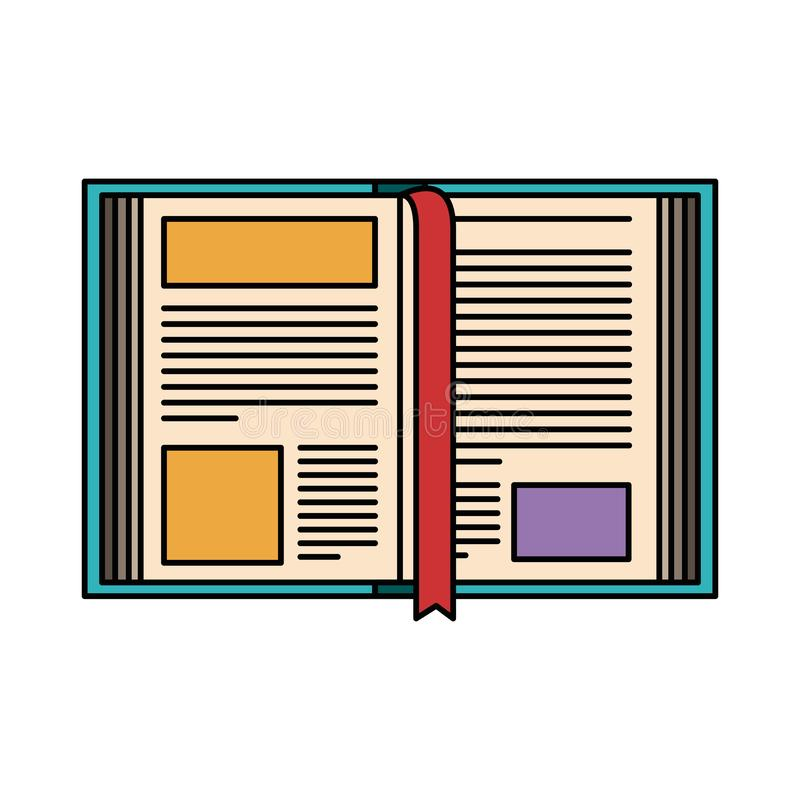 Het kleurrijke open boek van het silhouetbeeld met referentie vector illustratie