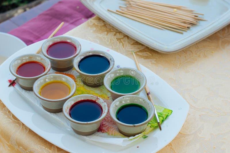 Het kleurrijke palet van de waterkleur voor art. royalty-vrije stock foto