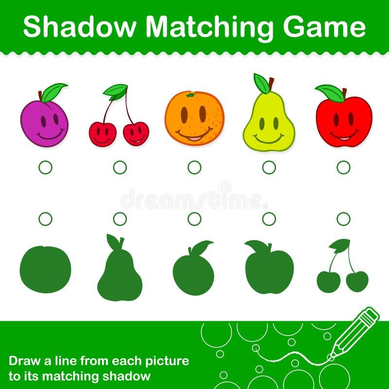 Het kleurrijke passende Spel van de Fruitschaduw voor jonge geitjes vector illustratie