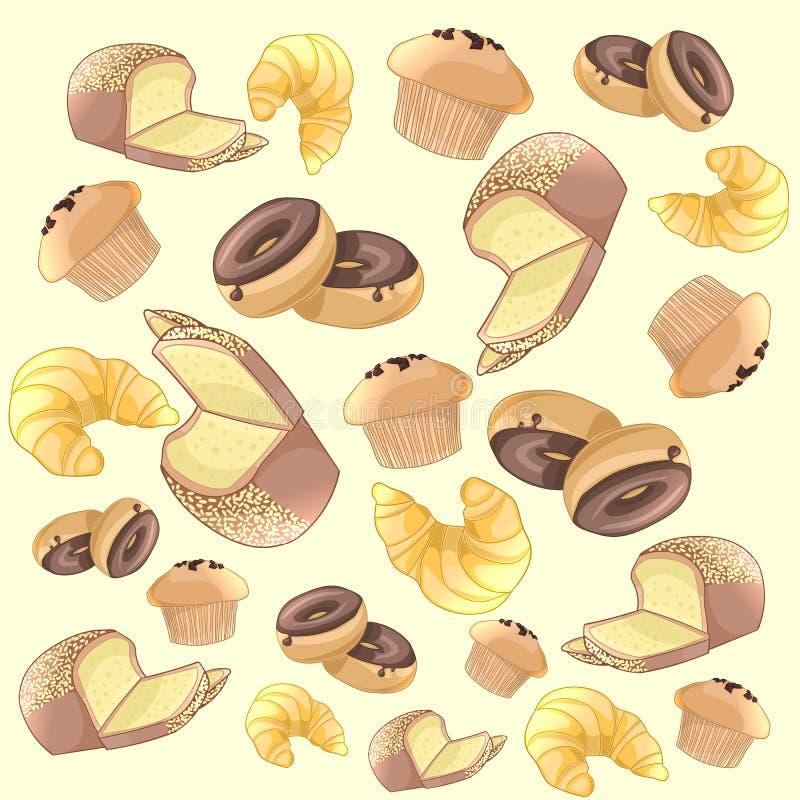 Het kleurrijke patroon van bakkerijproducten Het kan voor prestaties van het ontwerpwerk noodzakelijk zijn royalty-vrije illustratie