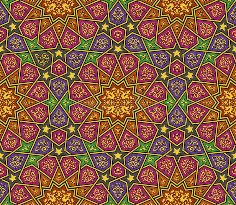 Het kleurrijke patroon van het arabesqueornament vector illustratie