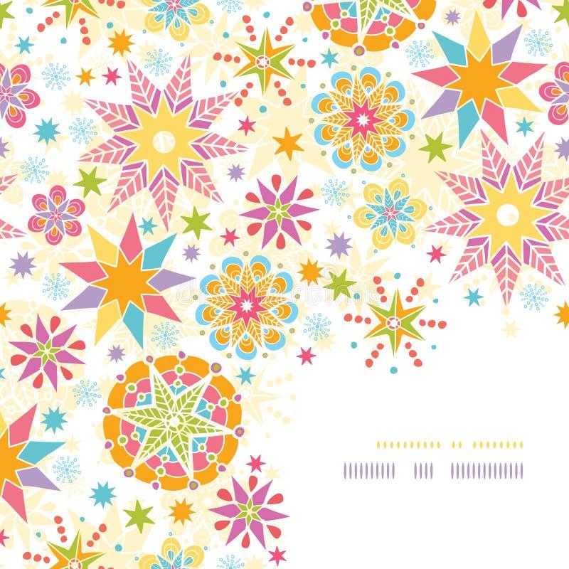 Het kleurrijke Patroon van het de Hoekdecor van Kerstmissterren stock illustratie