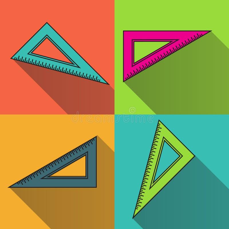 Het kleurrijke pictogram van de driehoeksheerser Terug naar schoolsymbool vector illustratie