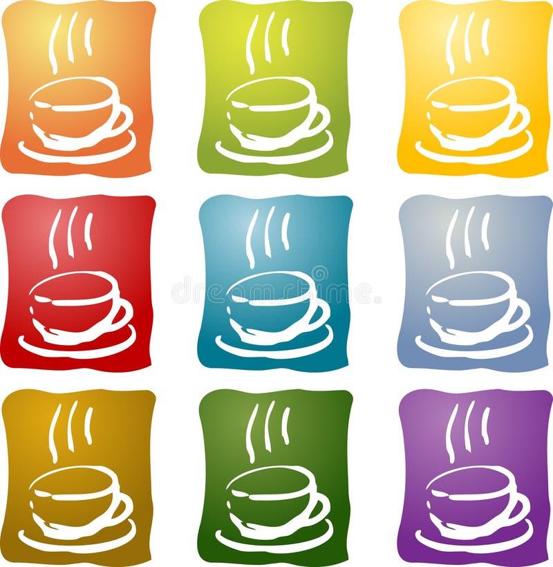 Het kleurrijke pictogram van de koffiedrank stock illustratie
