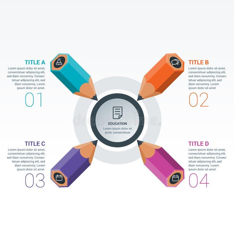 Het kleurrijke Potlood van Infographics van Onderwijselementen royalty-vrije illustratie