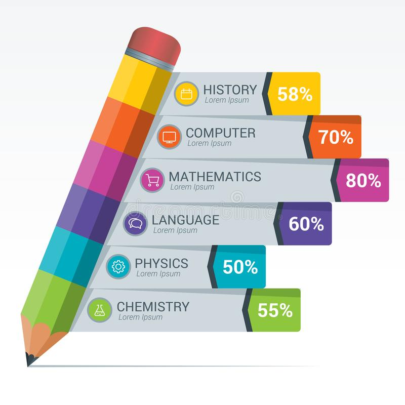 Het kleurrijke Potlood van Infographics van Onderwijselementen stock illustratie