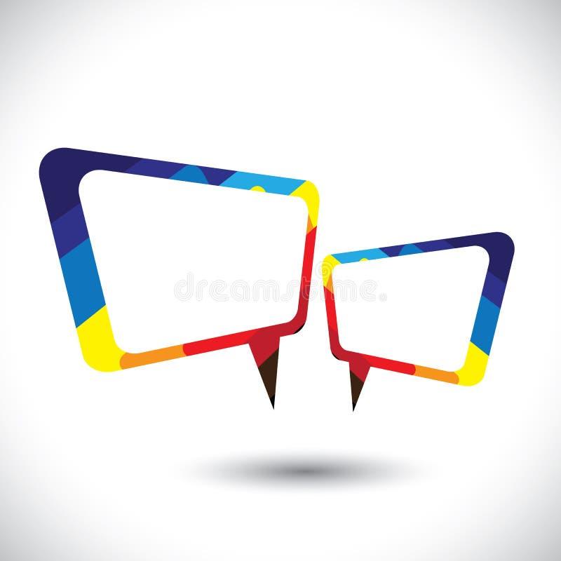 Het kleurrijke praatjepictogram of symbool van de toespraakbel stock illustratie