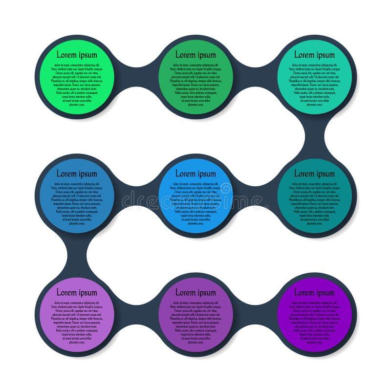 Het kleurrijke ronde diagram van het Metaballmalplaatje royalty-vrije illustratie