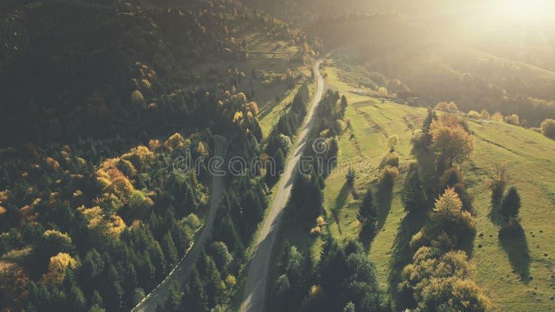 Het kleurrijke satellietbeeld van de heuvel boslandweg stock afbeeldingen