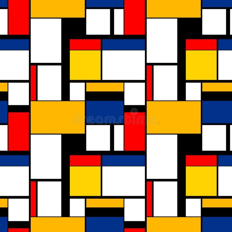 Het kleurrijke schilderen in de stijl van Piet Mondrian, modern naadloos patroon royalty-vrije illustratie