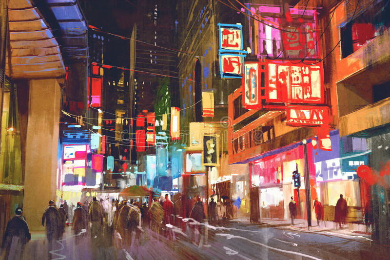 Het kleurrijke schilderen van mensen die op stadsstraat bij nacht lopen royalty-vrije stock afbeelding