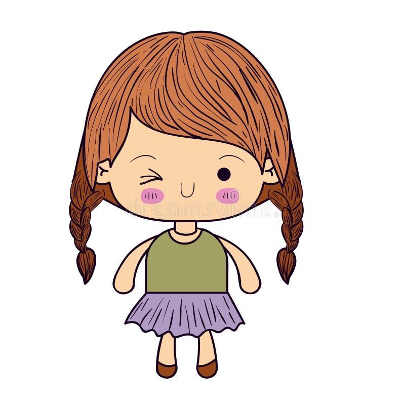 Het kleurrijke silhouet van kawaiimeisje met gevlecht haar en de gelaatsuitdrukking knipogen oog vector illustratie