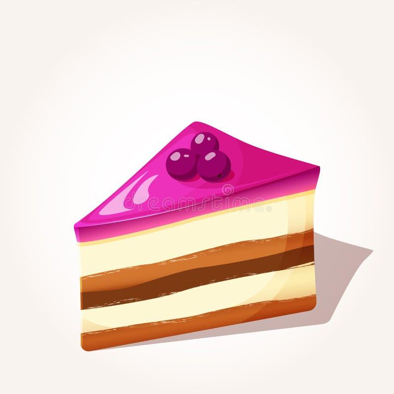 Het kleurrijke smakelijke die stuk bessen koekt met gelei in beeldverhaalstijl op witte achtergrond wordt geïsoleerd Vector illus vector illustratie