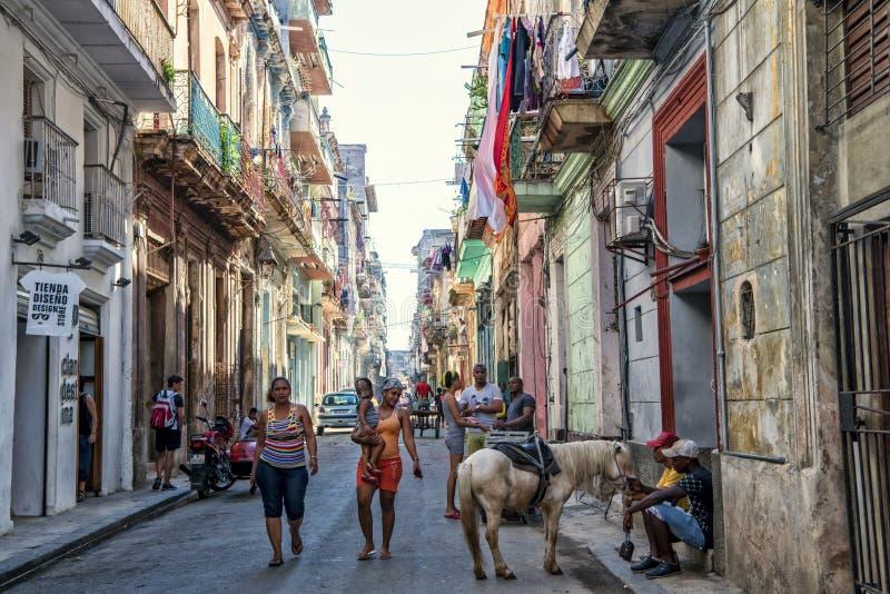 Het kleurrijke straatleven in Havana, Cuba stock fotografie
