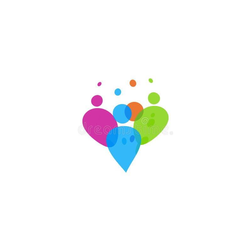 Het kleurrijke teken van mensensillhouette Vierende mensen, abstract geïsoleerd embleem stock illustratie