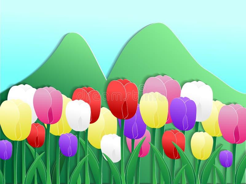 Het kleurrijke tulpendocument sneed stijl stock illustratie