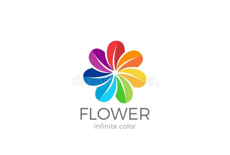 Het kleurrijke van het de lijnontwerp van het Bloem abstracte Embleem vectormalplaatje Van de vrienden sociaal communautair Logot stock illustratie