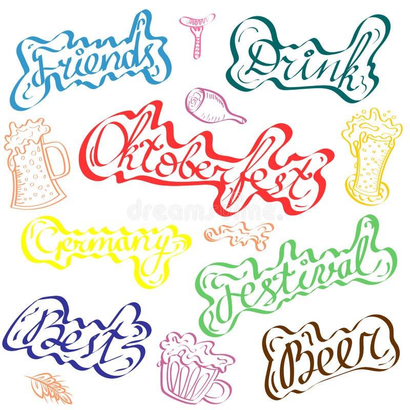 Het kleurrijke Van letters voorzien en de Symbolen van Oktoberfest Perfect gebruik als stickers, banners en etiketten stock illustratie