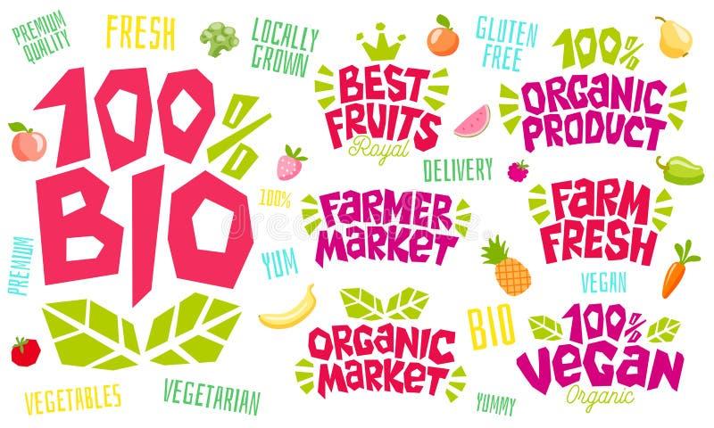 Het kleurrijke het van letters voorzien ontwerp van het het embleemembleem van het teken gezonde voedsel vector illustratie