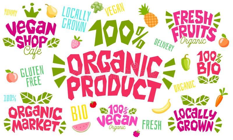 Het kleurrijke het van letters voorzien ontwerp van het het embleemembleem van het teken gezonde voedsel royalty-vrije illustratie