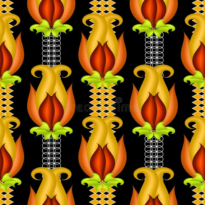 Het kleurrijke vector 3d naadloze patroon van Paisley Heldere sier etnische stijlachtergrond royalty-vrije illustratie